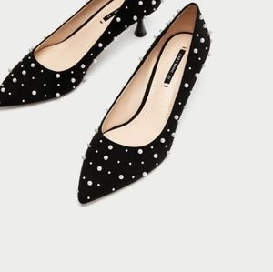 NWT Zara Court Shoe with Pearls size 40 US 9